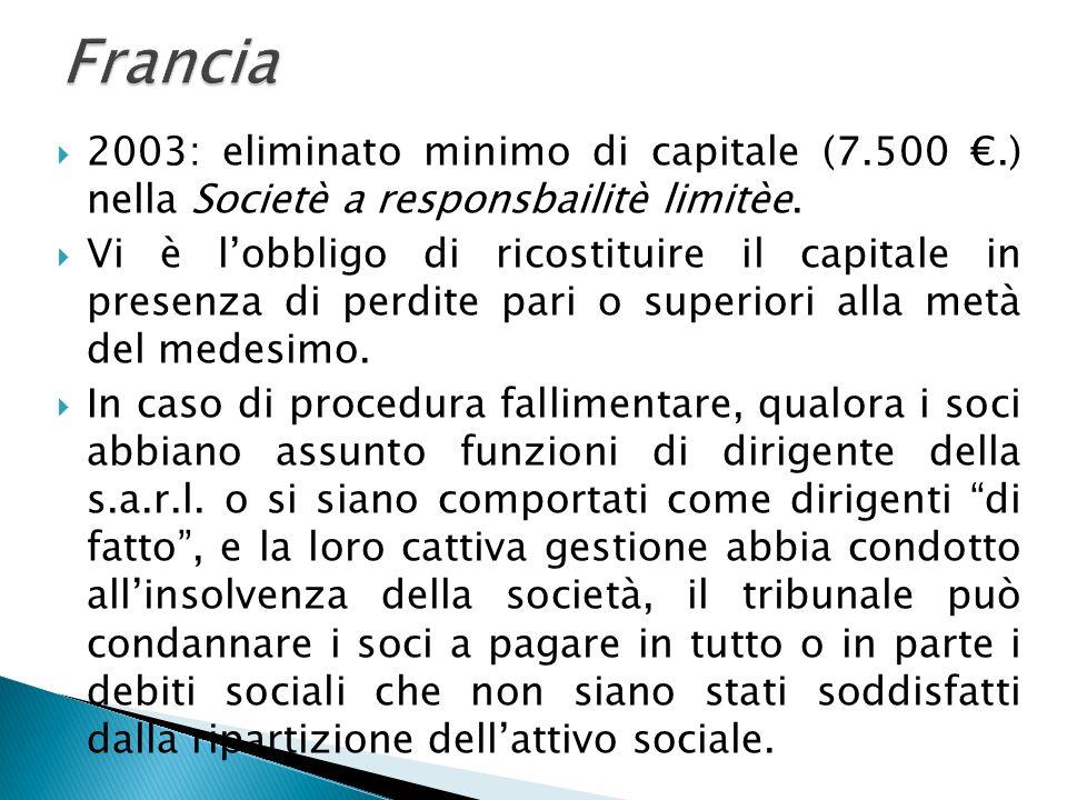 2003: eliminato minimo di capitale (7.500.) nella Societè a responsbailitè limitèe. Vi è lobbligo di ricostituire il capitale in presenza di perdite p