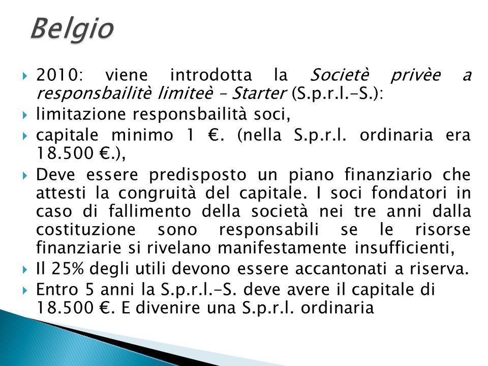 2010: viene introdotta la Societè privèe a responsbailitè limiteè – Starter (S.p.r.l.-S.): limitazione responsbailità soci, capitale minimo 1. (nella