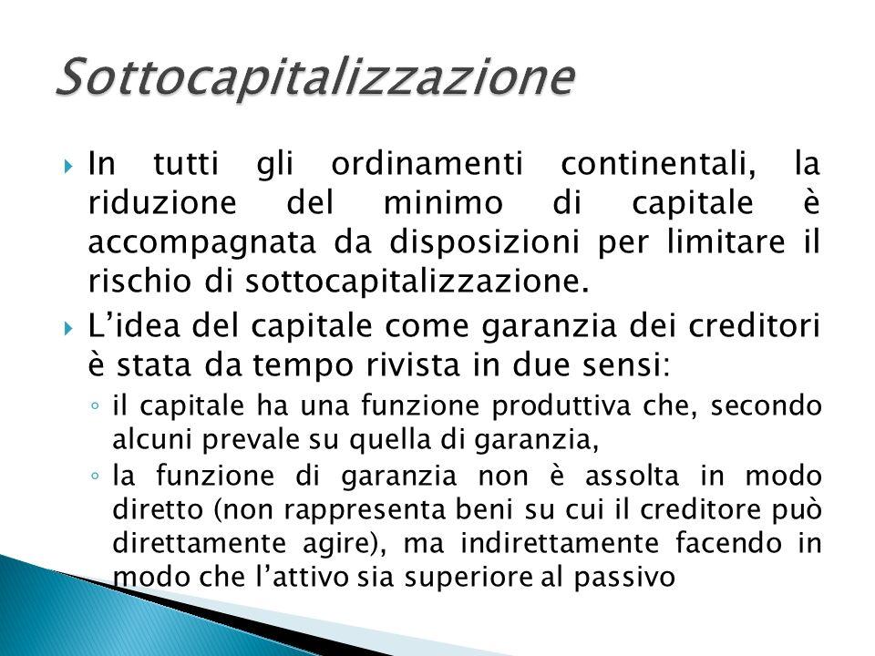 In tutti gli ordinamenti continentali, la riduzione del minimo di capitale è accompagnata da disposizioni per limitare il rischio di sottocapitalizzaz