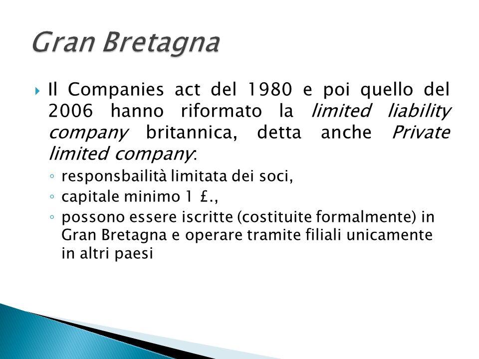 Il Companies act del 1980 e poi quello del 2006 hanno riformato la limited liability company britannica, detta anche Private limited company: responsb
