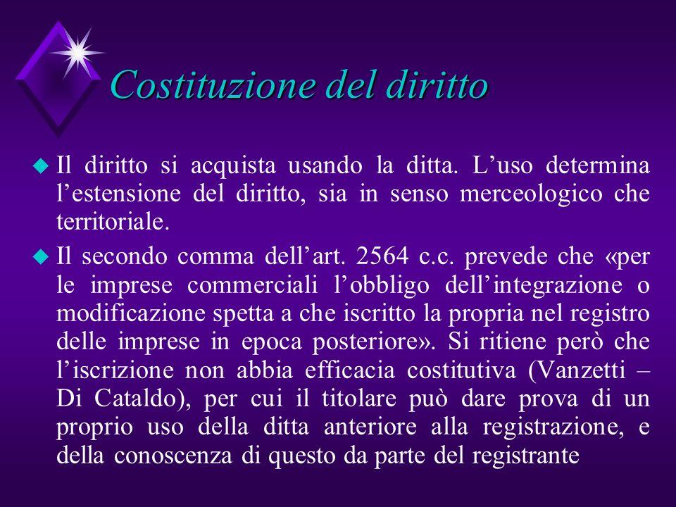 Costituzione del diritto u Il diritto si acquista usando la ditta. Luso determina lestensione del diritto, sia in senso merceologico che territoriale.
