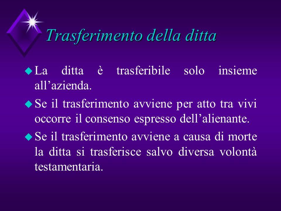 Trasferimento della ditta u La ditta è trasferibile solo insieme allazienda. u Se il trasferimento avviene per atto tra vivi occorre il consenso espre