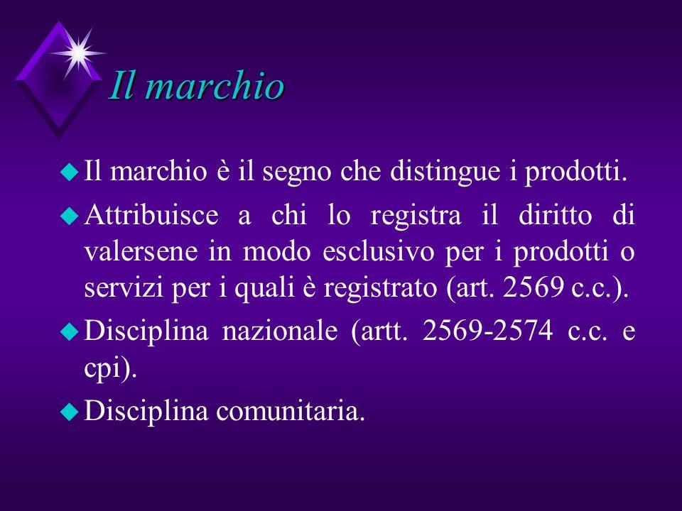 Il marchio u Il marchio è il segno che distingue i prodotti. u Attribuisce a chi lo registra il diritto di valersene in modo esclusivo per i prodotti