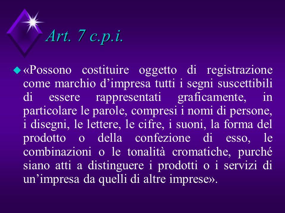 Art. 7 c.p.i. u «Possono costituire oggetto di registrazione come marchio dimpresa tutti i segni suscettibili di essere rappresentati graficamente, in