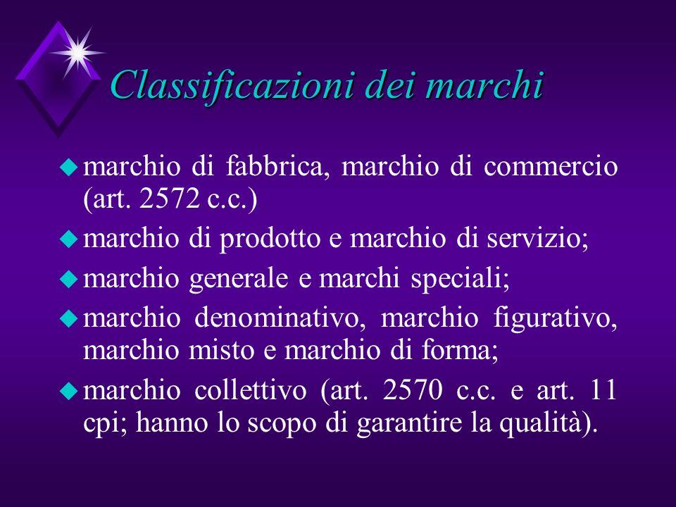 Classificazioni dei marchi u marchio di fabbrica, marchio di commercio (art. 2572 c.c.) u marchio di prodotto e marchio di servizio; u marchio general