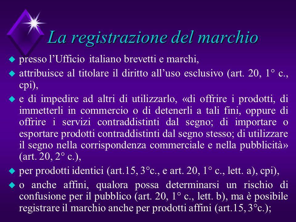 La registrazione del marchio u presso lUfficio italiano brevetti e marchi, u attribuisce al titolare il diritto alluso esclusivo (art. 20, 1° c., cpi)