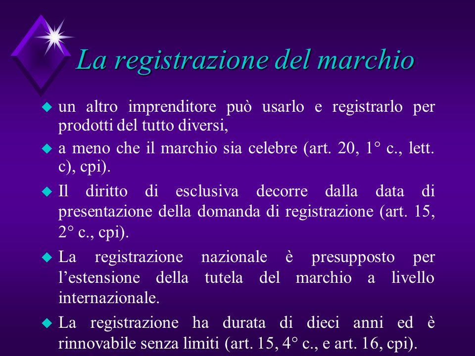 La registrazione del marchio u un altro imprenditore può usarlo e registrarlo per prodotti del tutto diversi, u a meno che il marchio sia celebre (art