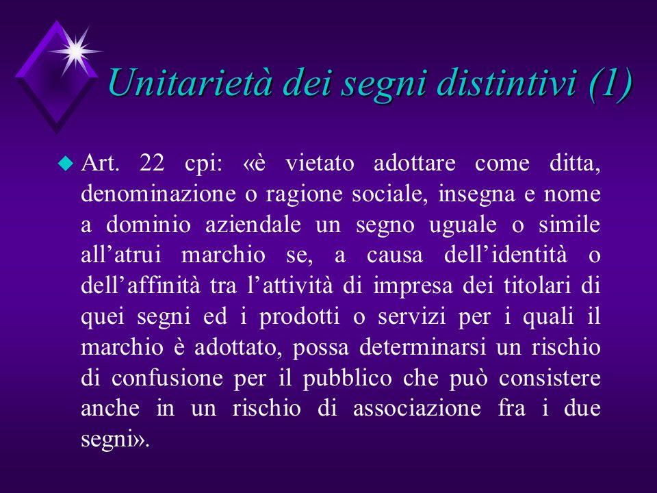 Unitarietà dei segni distintivi (1) u Art. 22 cpi: «è vietato adottare come ditta, denominazione o ragione sociale, insegna e nome a dominio aziendale