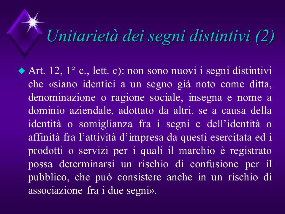 Unitarietà dei segni distintivi (2) u Art. 12, 1° c., lett. c): non sono nuovi i segni distintivi che «siano identici a un segno già noto come ditta,