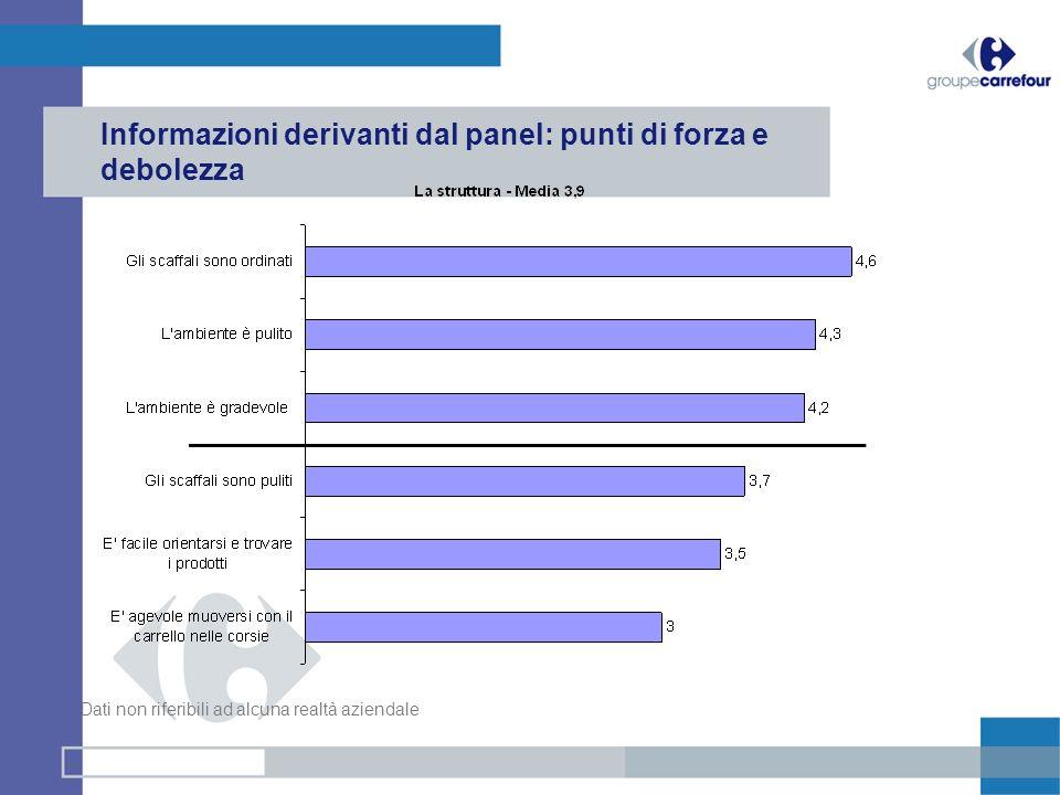 Informazioni derivanti dal panel: punti di forza e debolezza Dati non riferibili ad alcuna realtà aziendale