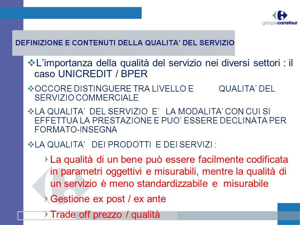 DEFINIZIONE E CONTENUTI DELLA QUALITA DEL SERVIZIO Limportanza della qualità del servizio nei diversi settori : il caso UNICREDIT / BPER OCCORE DISTIN