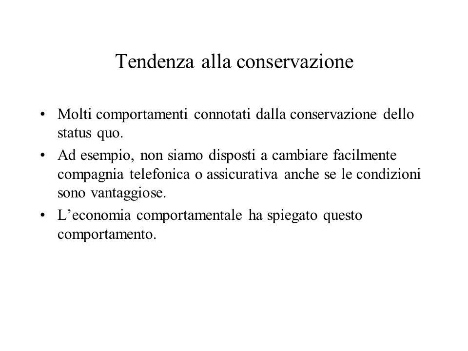 Tendenza alla conservazione Molti comportamenti connotati dalla conservazione dello status quo. Ad esempio, non siamo disposti a cambiare facilmente c