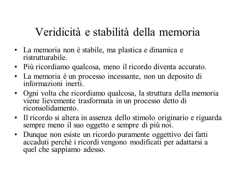 Veridicità e stabilità della memoria La memoria non è stabile, ma plastica e dinamica e ristrutturabile. Più ricordiamo qualcosa, meno il ricordo dive