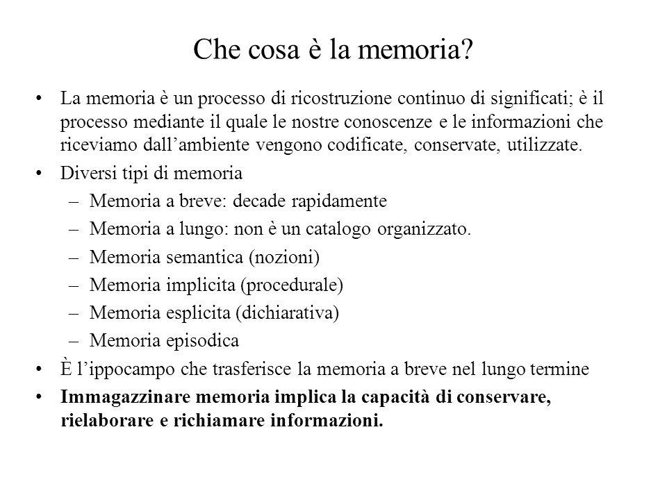 Che cosa è la memoria? La memoria è un processo di ricostruzione continuo di significati; è il processo mediante il quale le nostre conoscenze e le in