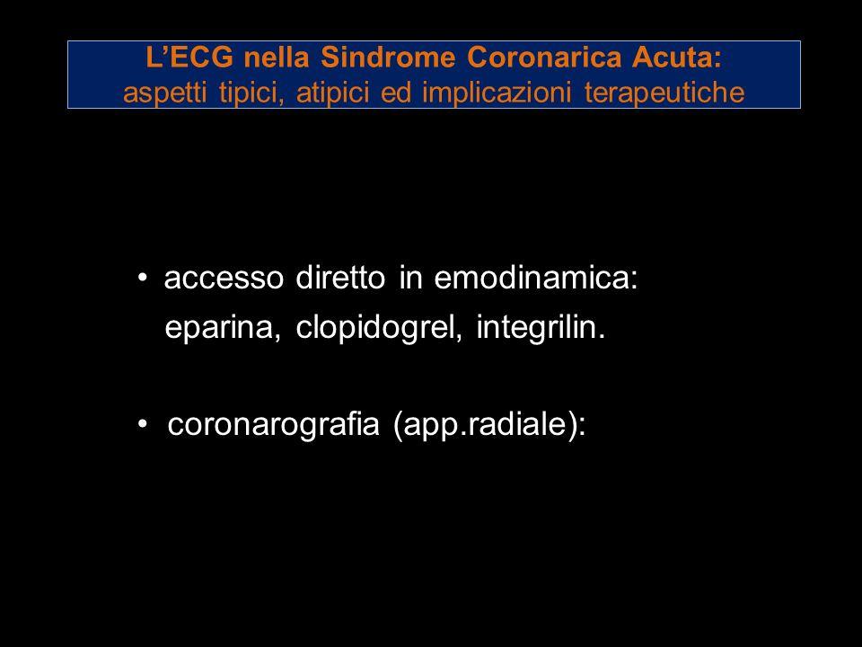 LECG nella Sindrome Coronarica Acuta: aspetti tipici, atipici ed implicazioni terapeutiche accesso diretto in emodinamica: eparina, clopidogrel, integ