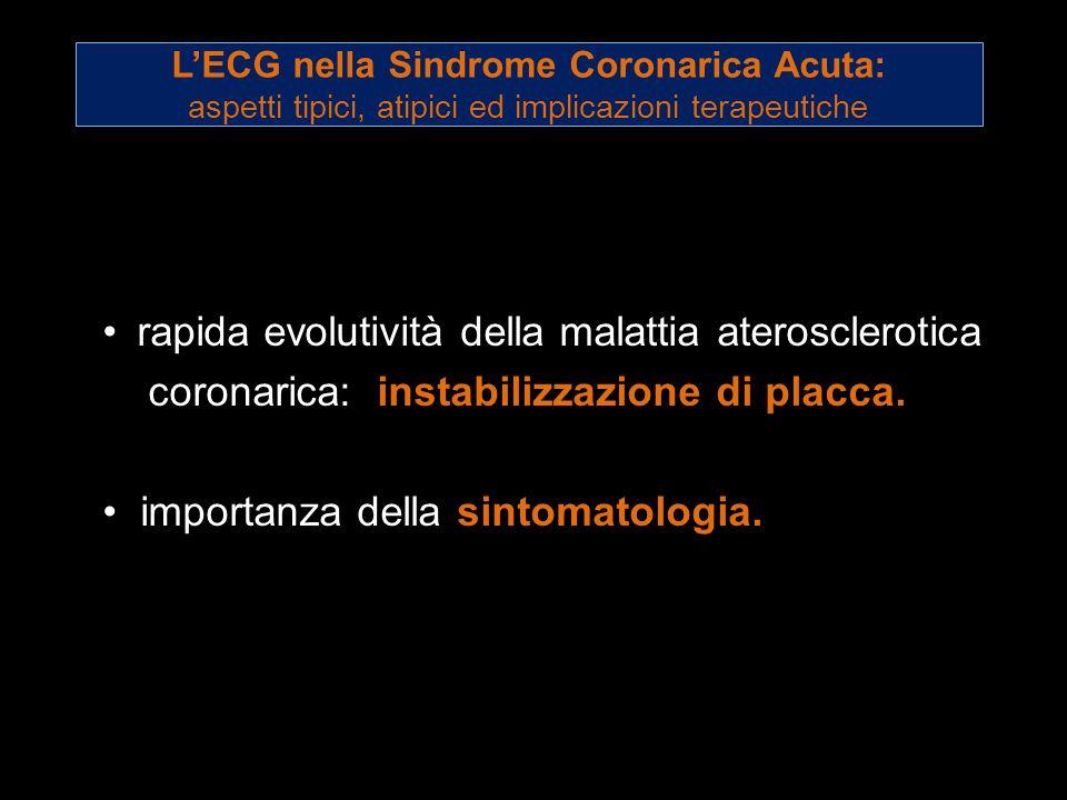 rapida evolutività della malattia aterosclerotica coronarica: instabilizzazione di placca. importanza della sintomatologia. LECG nella Sindrome Corona