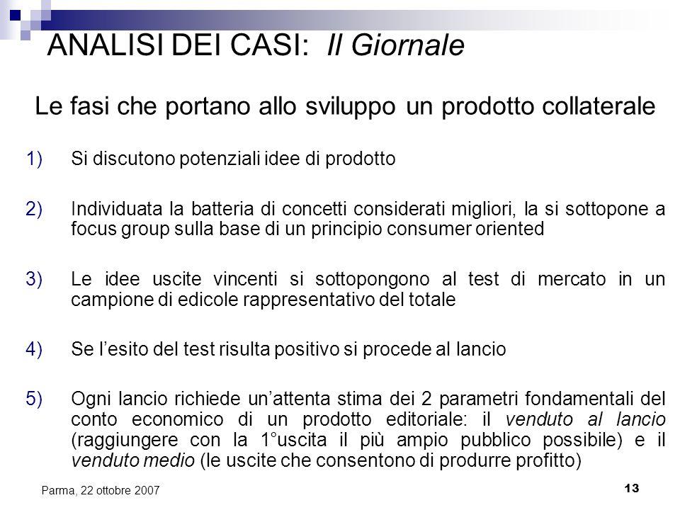 13 Parma, 22 ottobre 2007 ANALISI DEI CASI: Il Giornale Le fasi che portano allo sviluppo un prodotto collaterale 1)Si discutono potenziali idee di pr