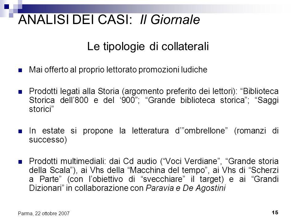15 Parma, 22 ottobre 2007 ANALISI DEI CASI: Il Giornale Le tipologie di collaterali Mai offerto al proprio lettorato promozioni ludiche Prodotti legat