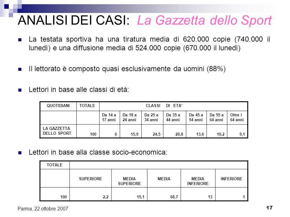17 Parma, 22 ottobre 2007 ANALISI DEI CASI: La Gazzetta dello Sport La testata sportiva ha una tiratura media di 620.000 copie (740.000 il lunedì) e u