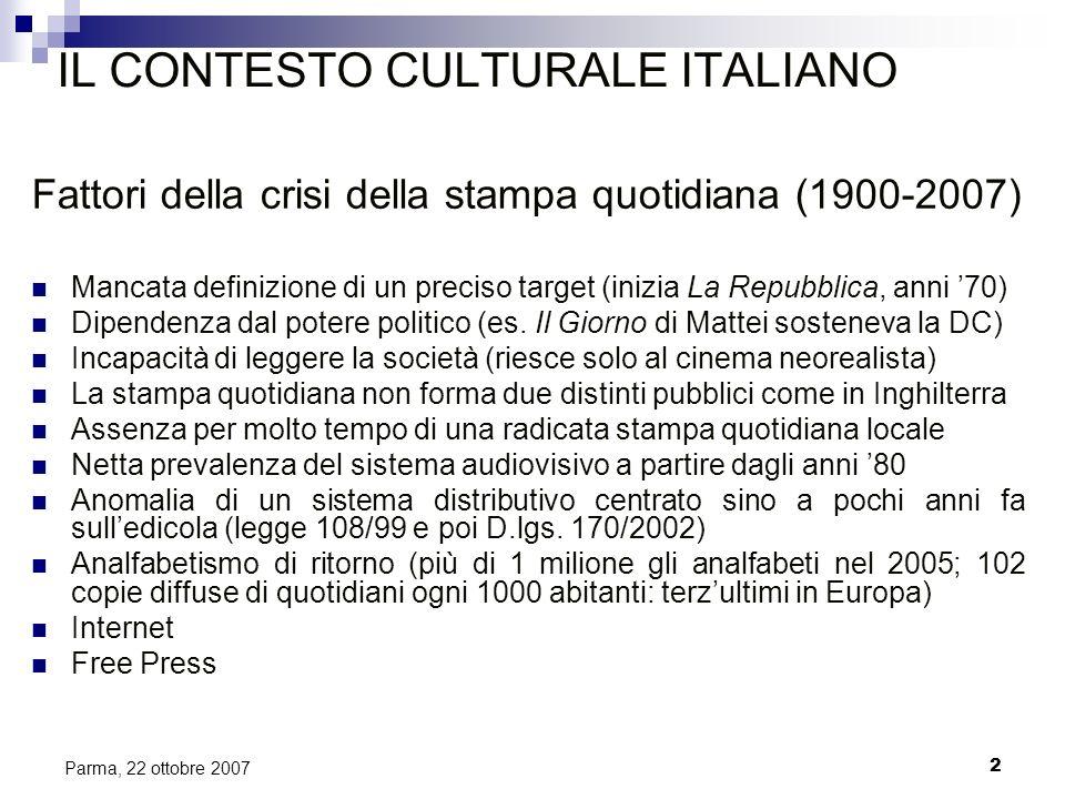 2 Parma, 22 ottobre 2007 IL CONTESTO CULTURALE ITALIANO Fattori della crisi della stampa quotidiana (1900-2007) Mancata definizione di un preciso targ