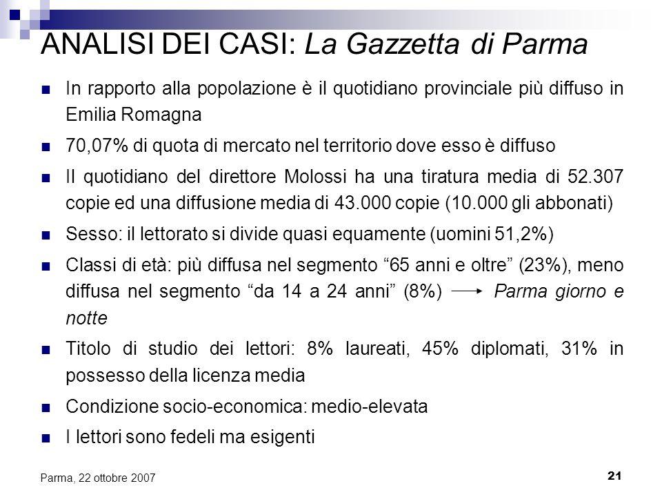 21 Parma, 22 ottobre 2007 ANALISI DEI CASI: La Gazzetta di Parma In rapporto alla popolazione è il quotidiano provinciale più diffuso in Emilia Romagn