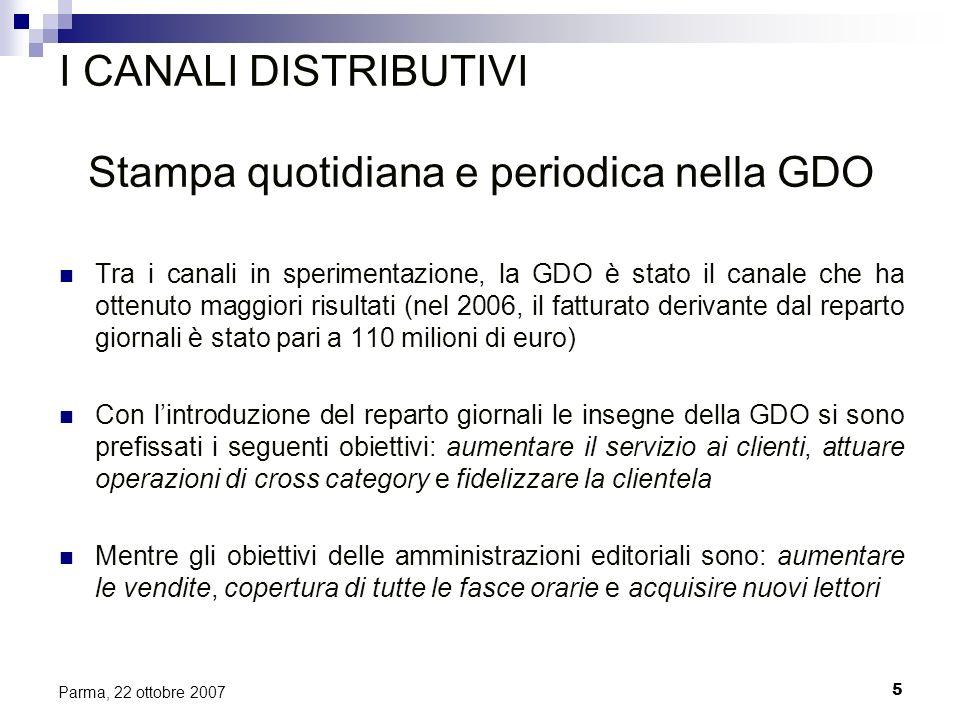 5 Parma, 22 ottobre 2007 I CANALI DISTRIBUTIVI Stampa quotidiana e periodica nella GDO Tra i canali in sperimentazione, la GDO è stato il canale che h