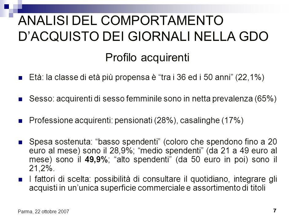 7 Parma, 22 ottobre 2007 ANALISI DEL COMPORTAMENTO DACQUISTO DEI GIORNALI NELLA GDO Profilo acquirenti Età: la classe di età più propensa è tra i 36 e