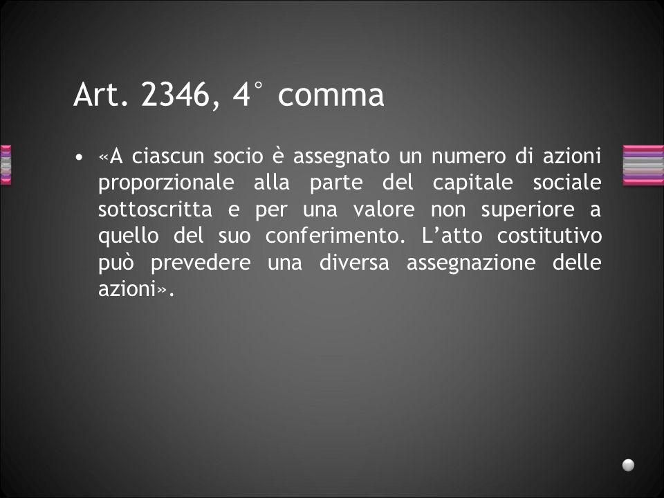 Art. 2346, 4° comma «A ciascun socio è assegnato un numero di azioni proporzionale alla parte del capitale sociale sottoscritta e per una valore non s
