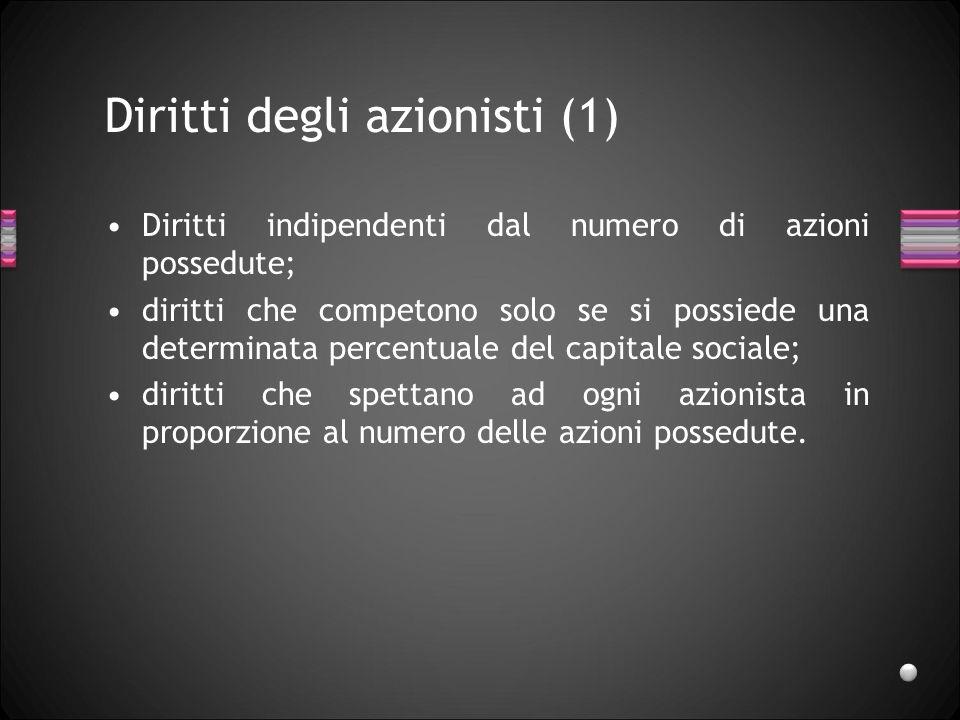 Diritti degli azionisti (1) Diritti indipendenti dal numero di azioni possedute; diritti che competono solo se si possiede una determinata percentuale
