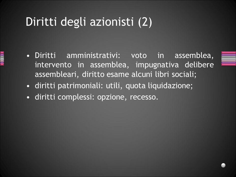 Diritti degli azionisti (2) Diritti amministrativi: voto in assemblea, intervento in assemblea, impugnativa delibere assembleari, diritto esame alcuni