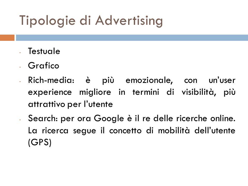 Tipologie di Advertising - Testuale - Grafico - Rich-media: è più emozionale, con unuser experience migliore in termini di visibilità, più attrattivo