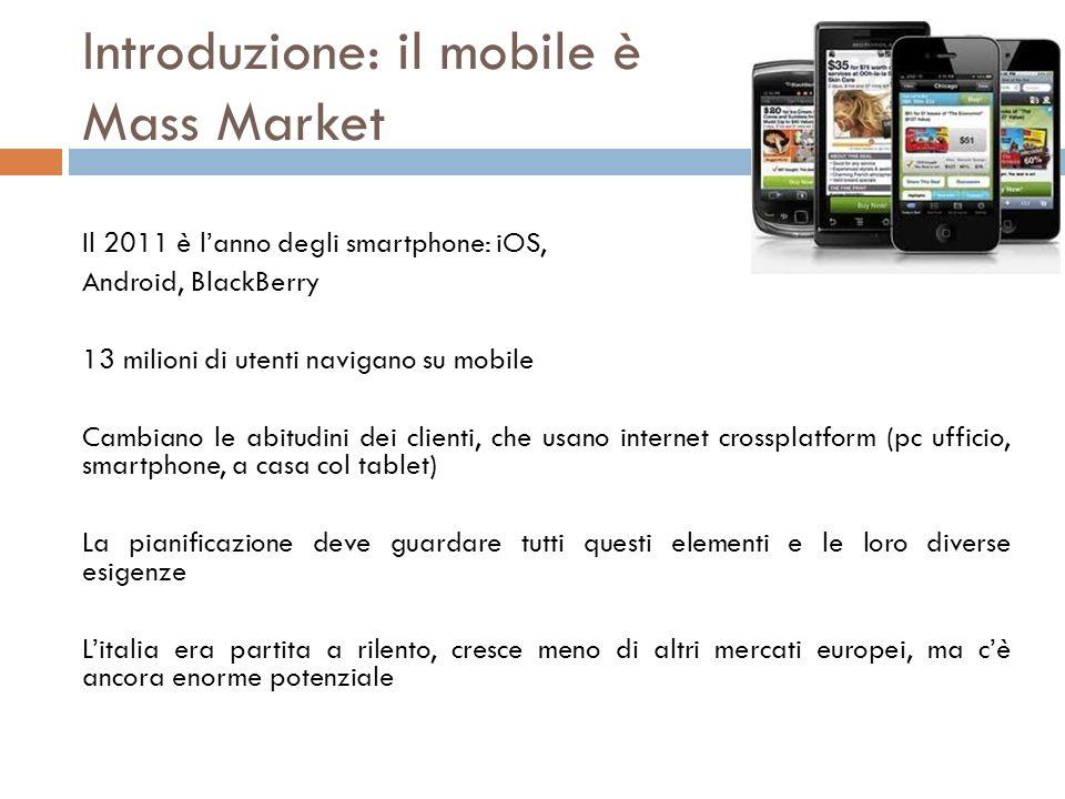 Introduzione: il mobile è Mass Market Il 2011 è lanno degli smartphone: iOS, Android, BlackBerry 13 milioni di utenti navigano su mobile Cambiano le a