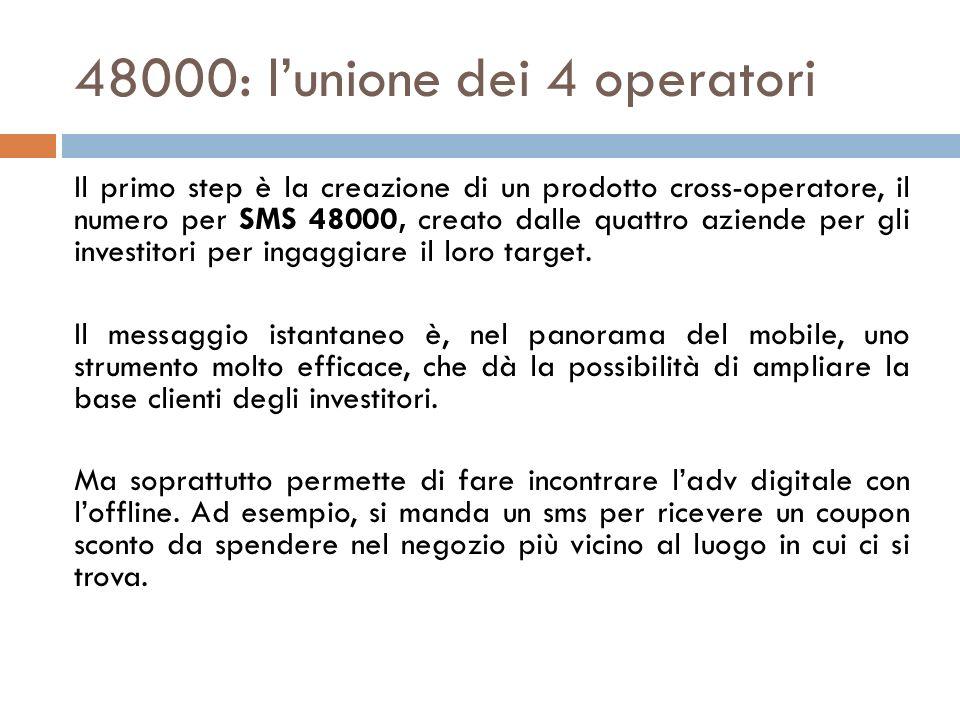 48000: lunione dei 4 operatori Il primo step è la creazione di un prodotto cross-operatore, il numero per SMS 48000, creato dalle quattro aziende per