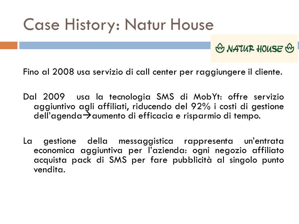Case History: Natur House Fino al 2008 usa servizio di call center per raggiungere il cliente. Dal 2009 usa la tecnologia SMS di MobYt: offre servizio