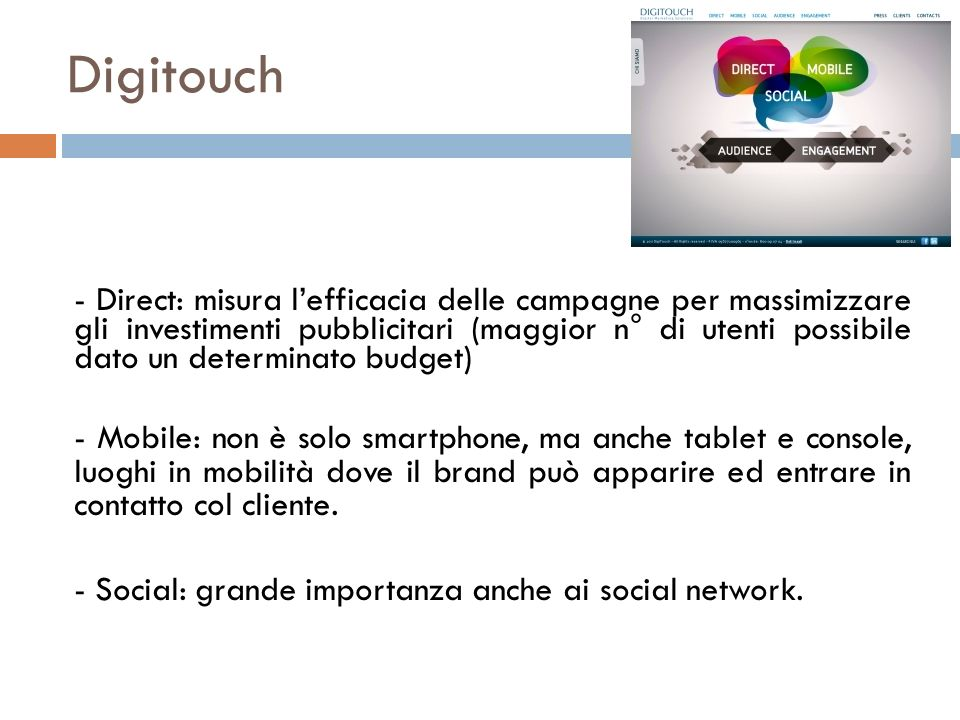Digitouch - Direct: misura lefficacia delle campagne per massimizzare gli investimenti pubblicitari (maggior n° di utenti possibile dato un determinat