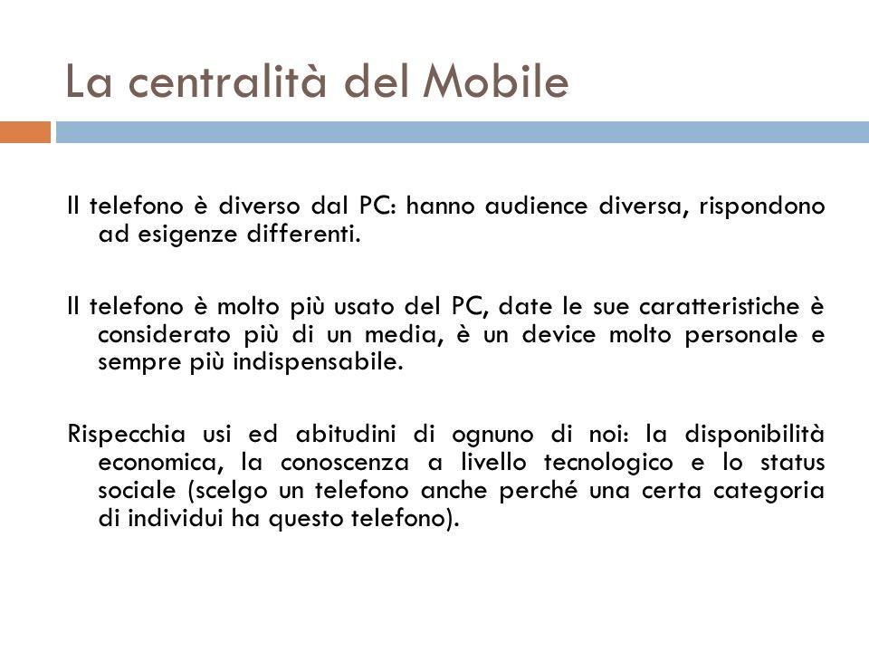 La centralità del Mobile Il telefono è diverso dal PC: hanno audience diversa, rispondono ad esigenze differenti. Il telefono è molto più usato del PC