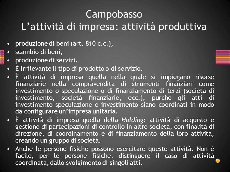 Campobasso Lattività di impresa: attività produttiva produzione di beni (art. 810 c.c.), scambio di beni, produzione di servizi. È irrilevante il tipo