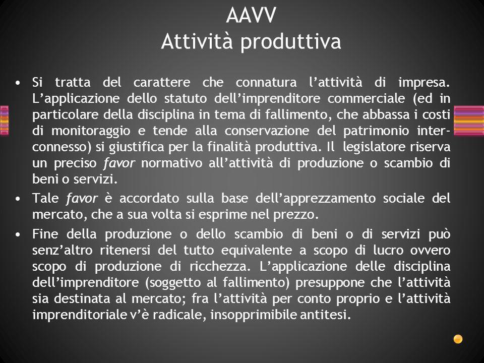 AAVV Attività produttiva Si tratta del carattere che connatura lattività di impresa. Lapplicazione dello statuto dellimprenditore commerciale (ed in p