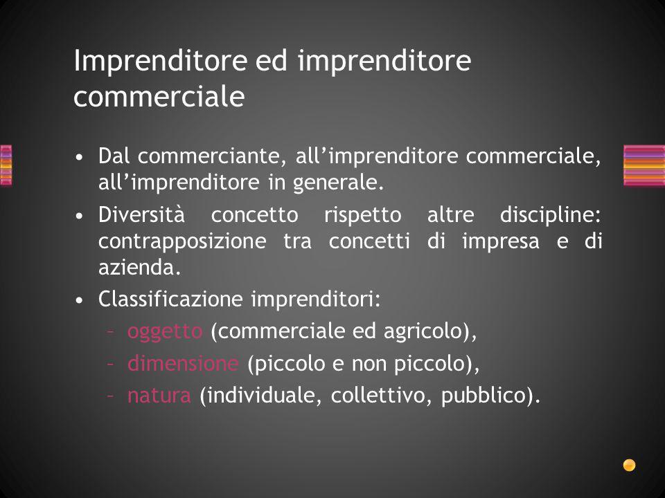 Imprenditore ed imprenditore commerciale Dal commerciante, allimprenditore commerciale, allimprenditore in generale. Diversità concetto rispetto altre
