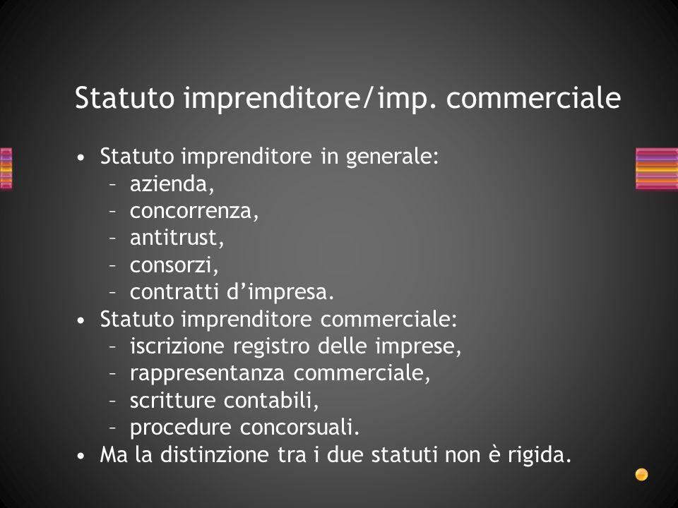 Statuto imprenditore/imp. commerciale Statuto imprenditore in generale: –azienda, –concorrenza, –antitrust, –consorzi, –contratti dimpresa. Statuto im
