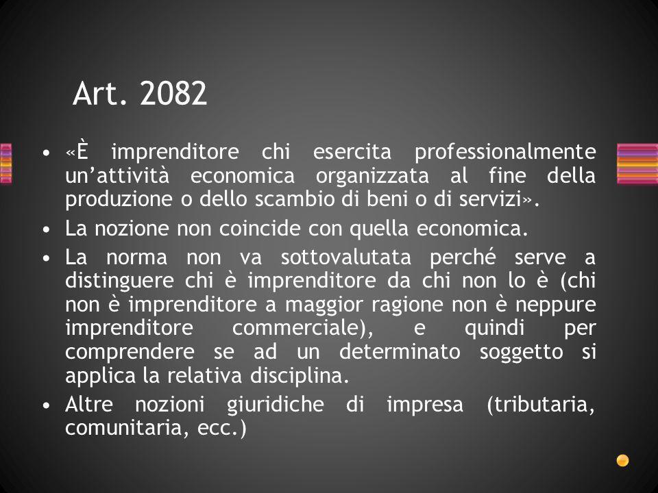 Art. 2082 «È imprenditore chi esercita professionalmente unattività economica organizzata al fine della produzione o dello scambio di beni o di serviz