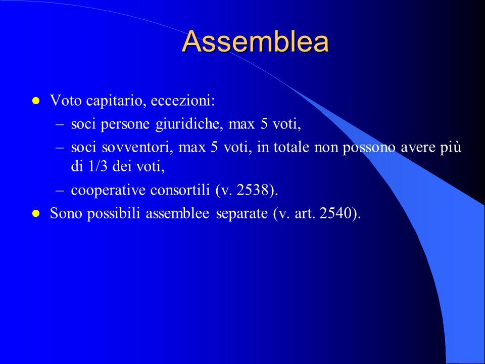 Assemblea l Voto capitario, eccezioni: –soci persone giuridiche, max 5 voti, –soci sovventori, max 5 voti, in totale non possono avere più di 1/3 dei