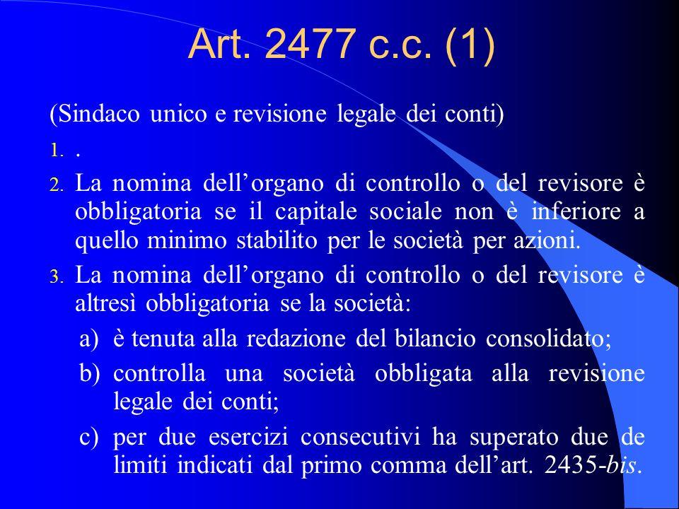 Art. 2477 c.c. (1) (Sindaco unico e revisione legale dei conti) 1.. 2. La nomina dellorgano di controllo o del revisore è obbligatoria se il capitale