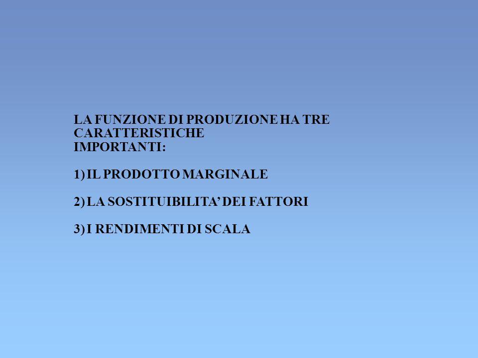 LA FUNZIONE DI PRODUZIONE HA TRE CARATTERISTICHE IMPORTANTI: 1) IL PRODOTTO MARGINALE 2) LA SOSTITUIBILITA DEI FATTORI 3) I RENDIMENTI DI SCALA