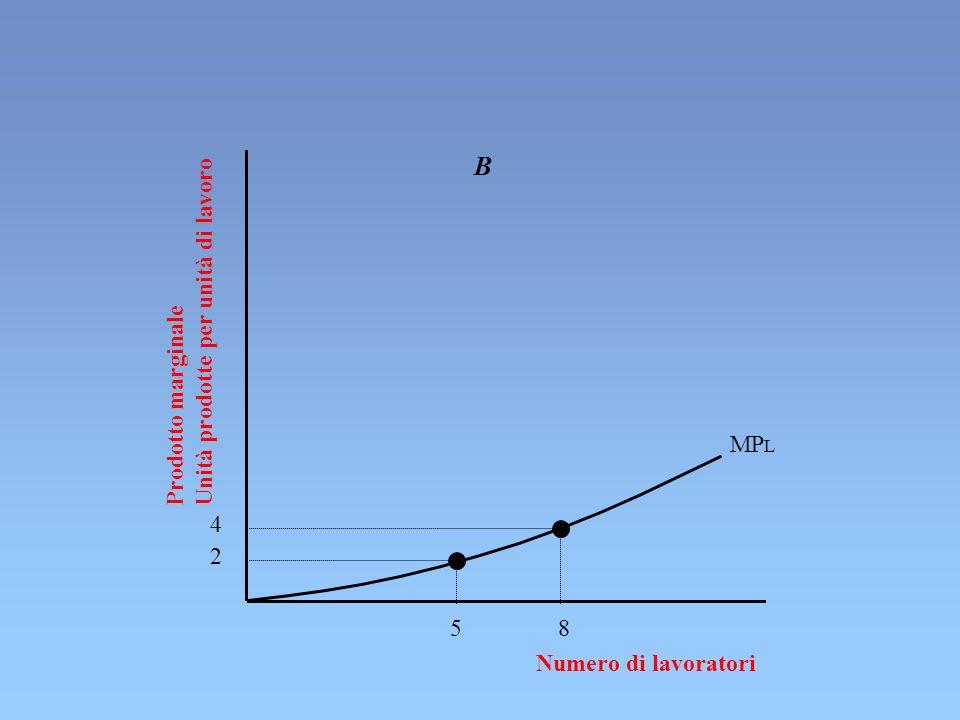 Numero di lavoratori 5 8 MP L B 4 2 Prodotto marginale Unità prodotte per unità di lavoro