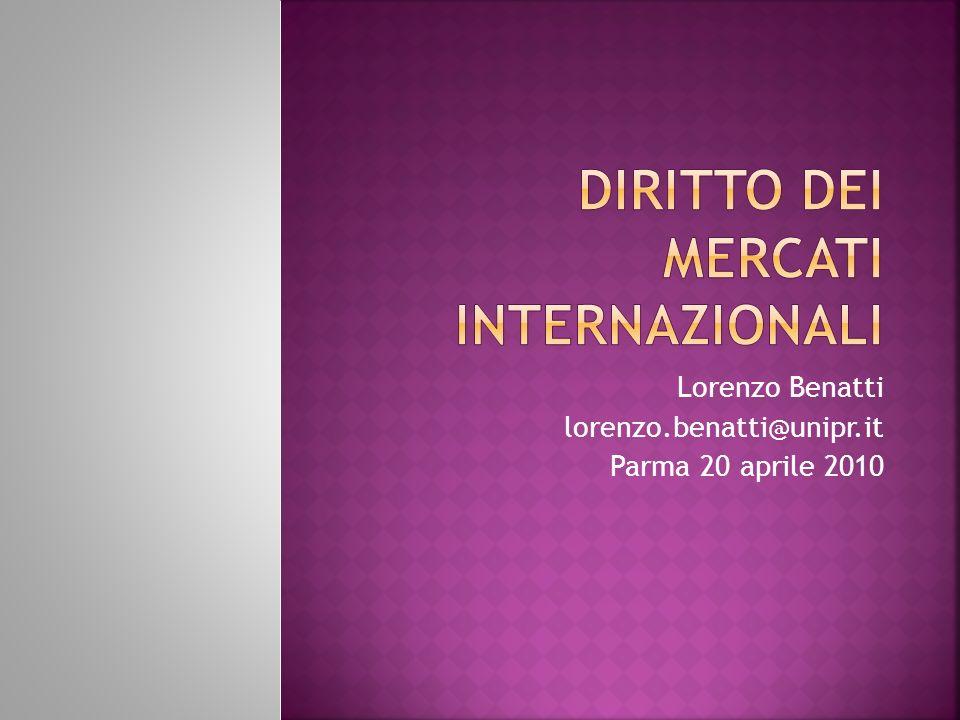 Lorenzo Benatti lorenzo.benatti@unipr.it Parma 20 aprile 2010