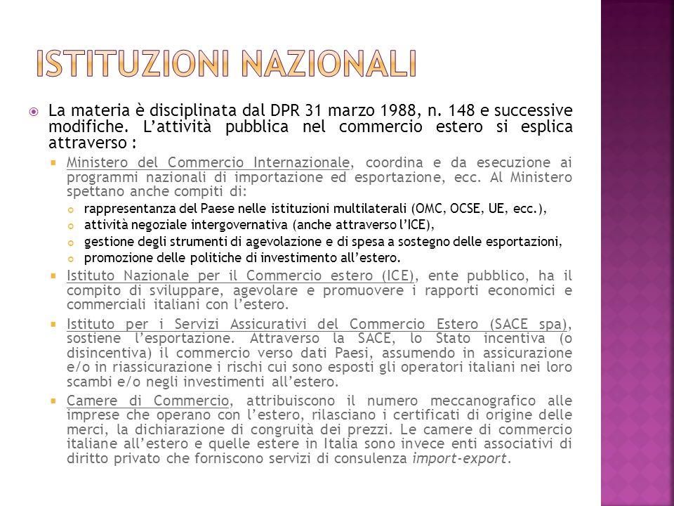 La materia è disciplinata dal DPR 31 marzo 1988, n. 148 e successive modifiche. Lattività pubblica nel commercio estero si esplica attraverso : Minist