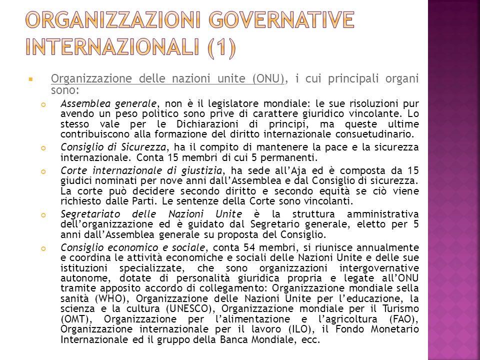 Organizzazione delle nazioni unite (ONU), i cui principali organi sono: Assemblea generale, non è il legislatore mondiale: le sue risoluzioni pur aven