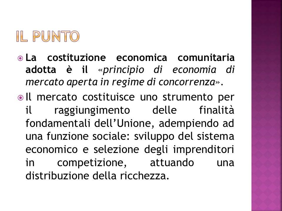 La costituzione economica comunitaria adotta è il «principio di economia di mercato aperta in regime di concorrenza». Il mercato costituisce uno strum