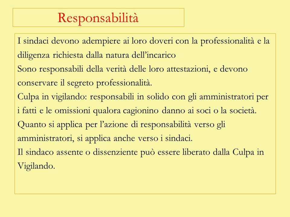 Responsabilità I sindaci devono adempiere ai loro doveri con la professionalità e la diligenza richiesta dalla natura dellincarico Sono responsabili d